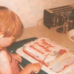 1976-Our Bicentennial cake. We were living in Lubbock that year. I guess I thought a flag cake was a little ambitious for me and Kevin.
