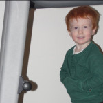 Two-year-old Peter on the treadmill