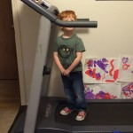 Three-year-old Peter on the treadmill