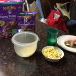 Popcorn, Annie's Berry Bunny cereal, cucumbers, and Annie's ready-to-bake cookies (which, of course, are NOT a part of a healthy lunch. They're for after-nap snack!)