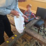 At church, we put fresh flowers on an empty cross on Easter Sunday. Last year, Peter was first. We brought the only flowers we had--yellow pansies.
